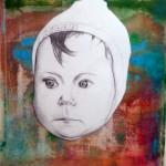 """""""Das Kind/die Mütze"""", Teicznung auf Lw, Acryl, MT 30 x 40, 2010"""